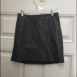 Free People Gray Faux Leather Mini Skirt
